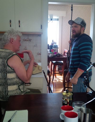 Adrian giving a little direction in the kitchen scene...