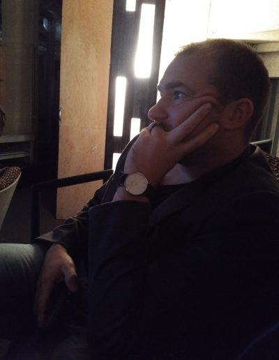 Adrian watching his film at the Hamilton Film Festival